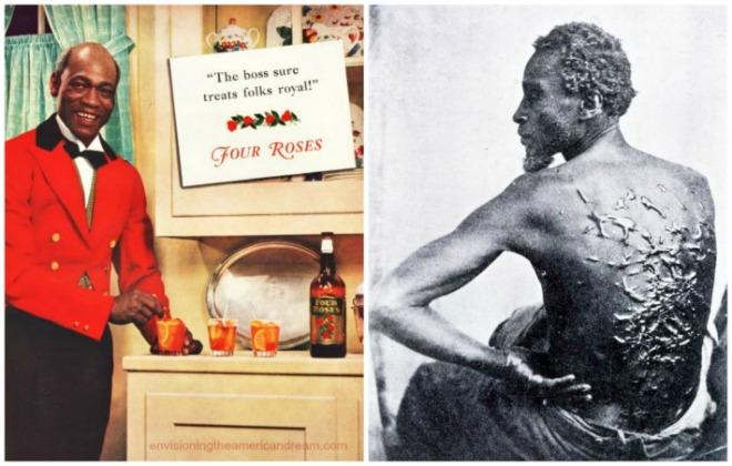 collage vintage ad happy Black butler and vintage photo of slave